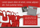 Red template for advertising brochure with business people
