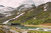 Trollstigen, Andalsnes, Norway. Visitor Centre Near Serpentine Mountain Road Trollstigen. Famous Nor poster