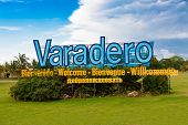 Sign marking the entrance to the beach of Varadero in Cuba, the main destination for tourism on the island poster