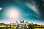 Kosava, Belarus. Summer Sun Shine Above Kosava Castle. It Is A Ruined Castellated Palace In Gothic R poster