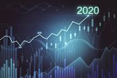 Glowing Graph Of Success In 2020 Year On Dark Background. Trade And Analysis Concept. Multiexposure poster