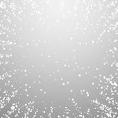 Amazing Falling Snow Christmas Background. Subtle Flying Snow Flakes And Stars On Light Grey Backgro poster