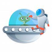 Astronaut Near Ufo Spaceship Icon. Cartoon Of Astronaut Near Ufo Spaceship Vector Icon For Web Desig poster
