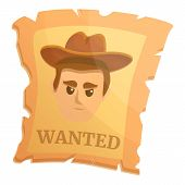 Wanted Western Paper Icon. Cartoon Of Wanted Western Paper Vector Icon For Web Design Isolated On Wh poster