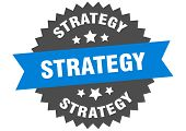 Strategy Sign. Strategy Blue-black Circular Band Label poster