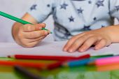 Close-up Of Childs Hands Drawing. Boy, Drawing A Picture For Fathers Day. Small Boy Draws At The Tab poster