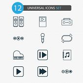 Music Icons Set With Next Song, Repeat, Musical Device And Other Following Song Elements. Isolated I poster