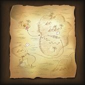 image of treasure map  - Treasure map on wooden background - JPG