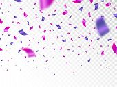 Purple And Pink Confetti Isolated On Transparent Background. Falling Color Confetti. Realistic Brigh poster