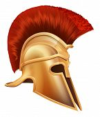 stock photo of hoplite  - Illustration of an ancient Greek Warrior helmet Spartan helmet Roman helmet or Trojan helmet - JPG