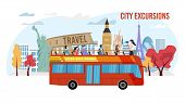 Touristic City Excursion, Bus Tour Service Trendy Flat Vector Advertising Banner, Promo Poster Templ poster