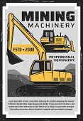 Coal Production, Mining Industry Professional Equipment And Machinery Bulldozer Vintage Retro Poster poster