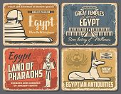 Ancient Egypt Travel Trips And Cairo Landmarks Tours Retro Vintage Posters. Vector Ancient Egypt Pha poster