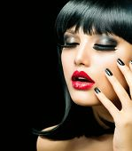 Fashion Woman Portrait. Stylish Model. Beauty Makeup and Manicure. Beautiful Girl with Black Hair, S