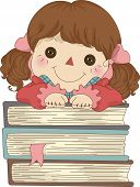 pic of rag-doll  - Illustration of Rag Doll with hands on a pile of Books - JPG