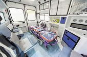 Modern ambulance in exhibition. Inside view.