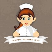 stock photo of rn  - International nurse day concept with illustration of a beautiful nurse - JPG