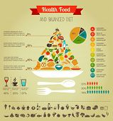 stock photo of hamburger  - Health food infographic - JPG