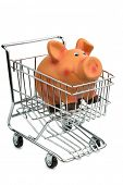 a piggy bank in a shopping cart photo icon for shopping, inflation and the economy