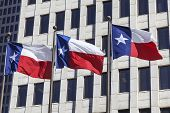 stock photo of texans  - Three Texas flags are waving in front of the office Building - JPG