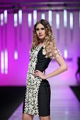 ZAGREB, CROATIA - MARCH 15: Fashion model on catwalk wearing clothes designed by Martina Felja on th