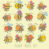 picture of bee cartoon  - Funny bees set in vector - JPG