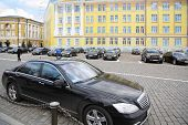 MOSCOW - APRIL 24: Government cars stand in Kremlin on April 24, 2012 in Moscow, Russia. Armored lim