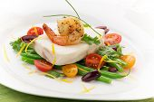 foto of halibut  - Poached halibut with spicy shrimp green beans cherry tomatoes black olives and citrus sauce - JPG