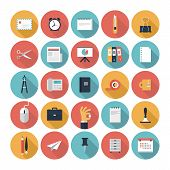 stock photo of creativity  - Modern flat icons vector collection with long shadow effect in stylish colors of business elements office equipment and marketing items - JPG
