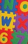 stock photo of kiddie  - Kiddies style Colored Alphabet and number blocks - JPG