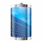 stock photo of solar battery  - Battery containing solar panels against blue sky - JPG