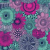 stock photo of violet  - Stylish bright seamless pattern made of gorgeous flowers - JPG