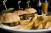 stock photo of slaughterhouse  - A trio of trendy Kobe Beef Sliders