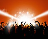 picture of rave  - party crowd raving before flashigh concert lights - JPG