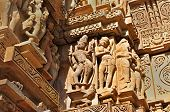 stock photo of khajuraho  - sculptures at Vishvanatha Temple - JPG