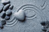 picture of pumice stone  - Grey zen stone in shape of heart - JPG