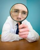 Funny People With A Magnifier