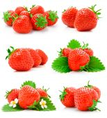Set Of Red Strawberry Fruits With Green Leaves