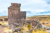 picture of urn funeral  - Funerary towers in Sillustani Peru South America - JPG