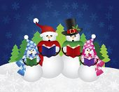 stock photo of christmas song  - Snowman Family Christmas Carolers with Hats and Scarf Isolated on Snow Scene Background Illustration - JPG