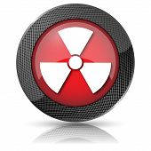 picture of radium  - Shiny glossy icon with white design on red background - JPG