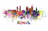 stock photo of riyadh  - Riyadh skyline in watercolor splatters with clipping path - JPG