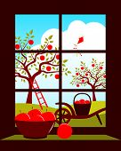 picture of hand-barrow  - vector apple trees and hand barrow with basket of apples outside the window - JPG