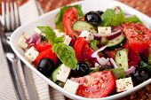 stock photo of cucumber slice  - vegetable salad with feta cheese - JPG