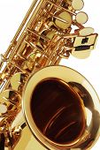 stock photo of sax  - Close Up Of Saxophone On White Background - JPG