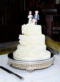 stock photo of three tier  - Three tier wedding cake with bride groom and dog topper at reception - JPG