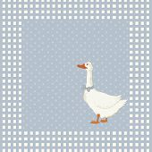 foto of baby goose  - Birthday greeting card with goose on blue background - JPG