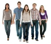 foto of young adult  - Casual group of people walking isolated over a white background - JPG