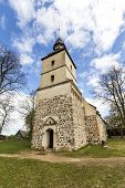 image of wall cloud  - old church in the small village of Benz in Usedom - JPG