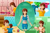 stock photo of homemaker  - A vector illustration of housewife handling multiple tasks portrayed as half human half machine - JPG